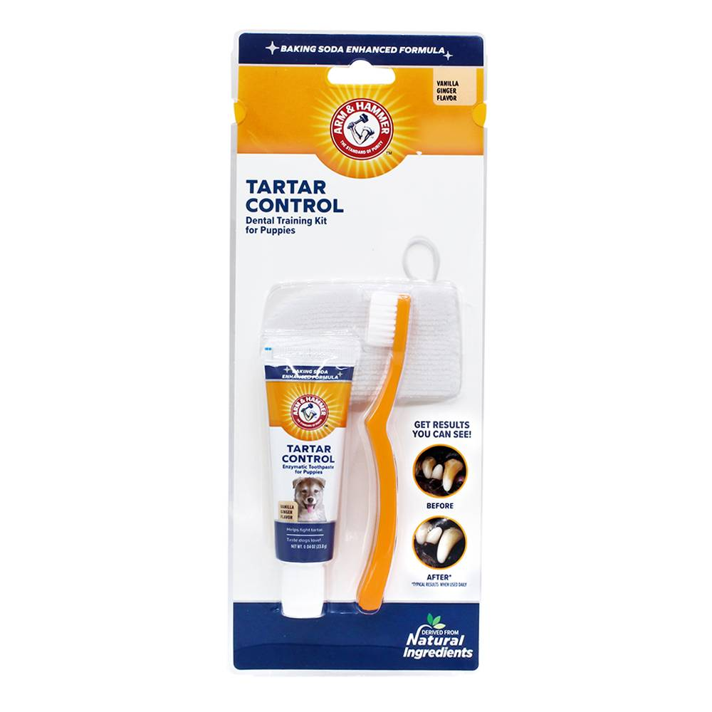 Arm & Hammer Tartar Control Dental Training Kit For Puppies Vanilla Ginger Flavor